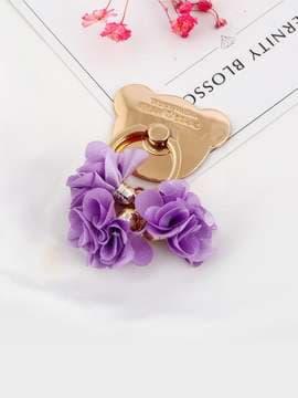 Стильный держатель телефона мишка с сиреневыми цветами золото. Изображение товара, вид 1