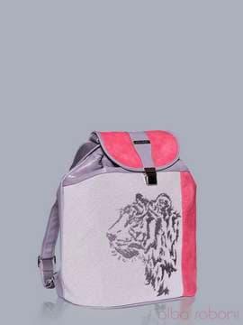 Літній рюкзак з вышивкою, модель 150852 сірий-корал. Зображення товару, вид збоку.