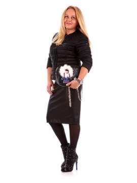 Стильный клатч с вышивкой, модель 172409 черный. Изображение товара, вид сбоку.