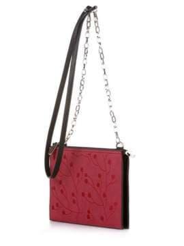 Брендовый клатч с вышивкой, модель 172767 черный. Изображение товара, вид сбоку.