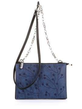 Модный клатч с вышивкой, модель 172769 черный. Изображение товара, вид спереди.