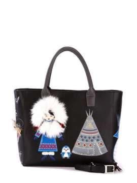 Молодежная сумка с вышивкой, модель 172939 черный. Изображение товара, вид спереди.