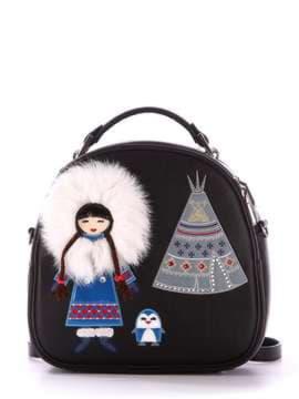 Модная сумка - рюкзак с вышивкой, модель 172959 черный. Изображение товара, вид спереди.