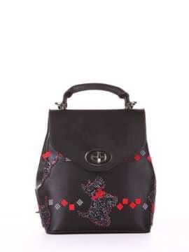 Стильный рюкзак с вышивкой, модель 182922 черный. Изображение товара, вид спереди.