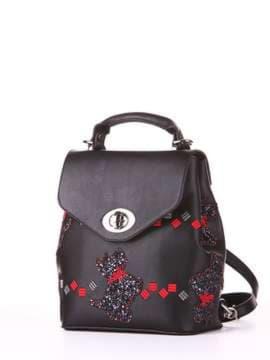 Стильный рюкзак с вышивкой, модель 182922 черный. Изображение товара, вид сбоку.