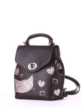 Модный рюкзак с вышивкой, модель 182923 черный. Изображение товара, вид сбоку.