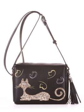 Молодежная сумка маленькая с вышивкой, модель 182911 черный. Изображение товара, вид спереди.