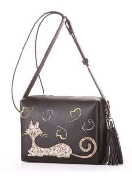 Молодежная сумка маленькая с вышивкой, модель 182911 черный. Изображение товара, вид сбоку.