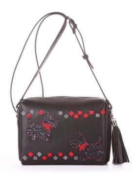 Стильная сумка маленькая с вышивкой, модель 182912 черный. Изображение товара, вид спереди.