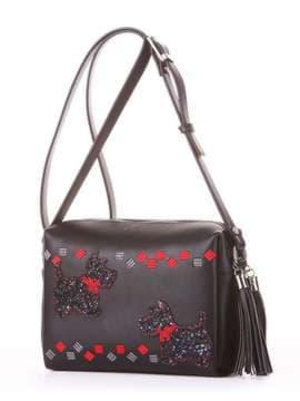Стильная сумка маленькая с вышивкой, модель 182912 черный. Изображение товара, вид сбоку.