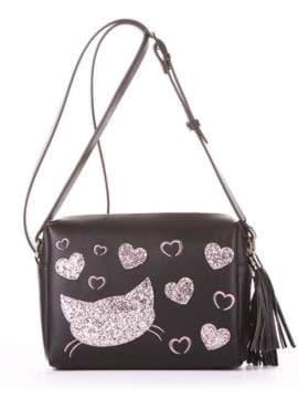 Модная сумка маленькая с вышивкой, модель 182913 черный. Изображение товара, вид спереди.