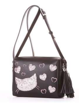 Модная сумка маленькая с вышивкой, модель 182913 черный. Изображение товара, вид сбоку.