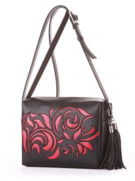 Брендовая сумка маленькая, модель 182914 черный. Изображение товара, вид сбоку.