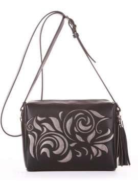 Модная сумка маленькая, модель 182915 черный. Изображение товара, вид спереди.