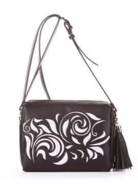 Стильная сумка маленькая, модель 182916 черный. Изображение товара, вид спереди.