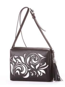 Стильная сумка маленькая, модель 182916 черный. Изображение товара, вид сбоку.