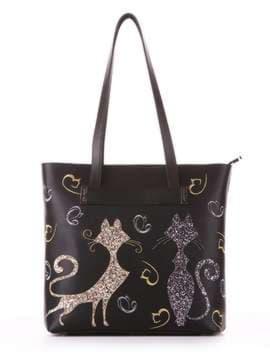 Молодежная сумка с вышивкой, модель 182901 черный. Изображение товара, вид спереди.