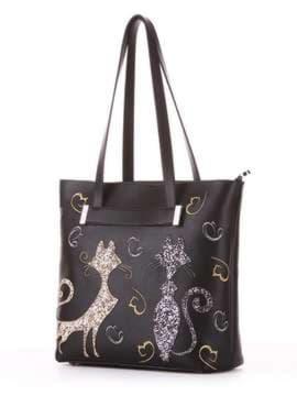 Молодежная сумка с вышивкой, модель 182901 черный. Изображение товара, вид сбоку.