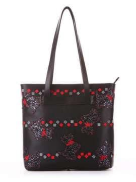 Модная сумка с вышивкой, модель 182902 черный. Изображение товара, вид спереди.