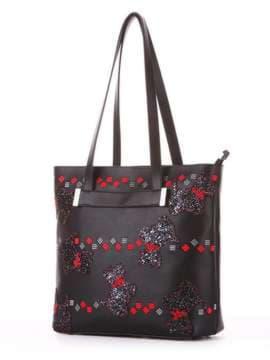 Модная сумка с вышивкой, модель 182902 черный. Изображение товара, вид сбоку.