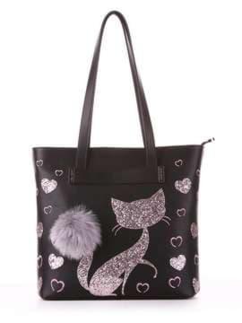 Модная сумка с вышивкой, модель 182903 черный. Изображение товара, вид спереди.