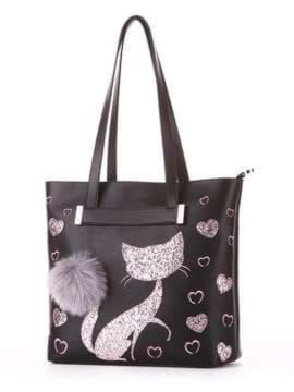 Модная сумка с вышивкой, модель 182903 черный. Изображение товара, вид сбоку.