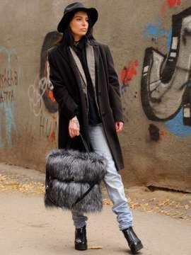 Модная сумка, модель 182931 черный. Изображение товара, вид сбоку.