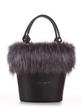 Стильная сумка, модель 182932 черный. Изображение товара, вид спереди.