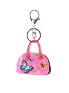Брендовий брелок сумочка з метеликами малиновий. Зображення товару, вид 1