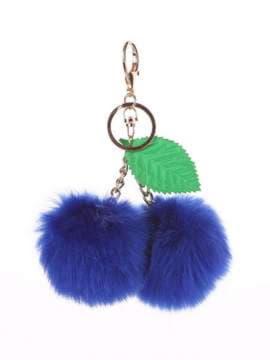 Молодежный брелок вишня меховая синий. Изображение товара, вид 1