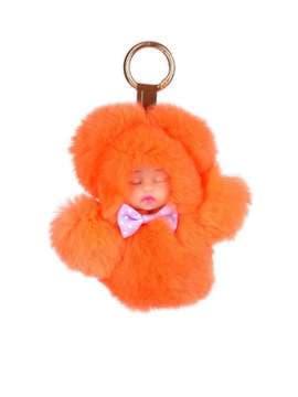 Брендовый брелок кукла в меху оранжевая. Изображение товара, вид 1
