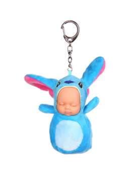 Молодежный брелок кукла плюшевая голубая длиные ушки. Изображение товара, вид 1