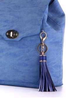 Стильный брелок кожаная синяя подвеска. Изображение товара, вид 2