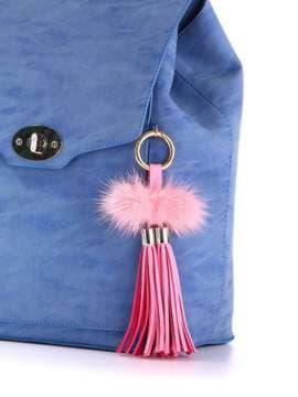 Модный брелок кожаная розовая подвеска с мехом. Изображение товара, вид 2