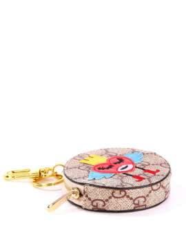 Модный брелок мини сумочка сердце в короне коричневый. Изображение товара, вид 1