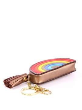 Молодежный брелок мини сумочка радуга бронзовая. Изображение товара, вид 1