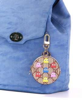 Модный брелок мини сумочка с осминогами коричневая. Изображение товара, вид 2