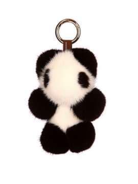 Модний брелок панда норкова чорно-білий. Зображення товару, вид 1