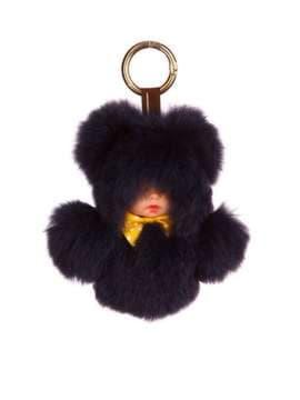 Стильный брелок кукла в меху черная. Изображение товара, вид 1