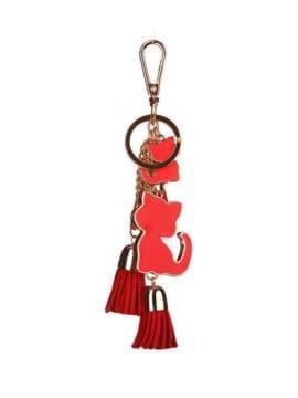 Стильный брелок подвеска красная с кошками. Изображение товара, вид 1