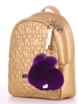 Стильный брелок кролик меховый с ремешком фиолетовый. Изображение товара, вид 2