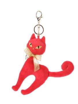 Молодежный брелок мягкая игрушка кошка с бантом красная. Изображение товара, вид 1