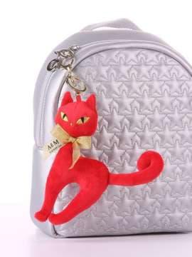 Молодежный брелок мягкая игрушка кошка с бантом красная. Изображение товара, вид 2
