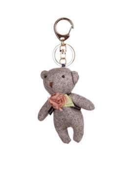 Стильный брелок мягкая игрушка мишка серый. Изображение товара, вид 1