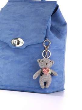 Стильный брелок мягкая игрушка мишка серый. Изображение товара, вид 2