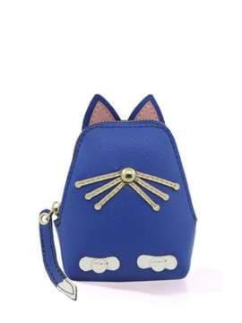 Стильный брелок кошелек кошка с усами синий. Изображение товара, вид 1
