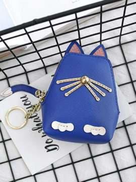 Стильный брелок кошелек кошка с усами синий. Изображение товара, вид 2