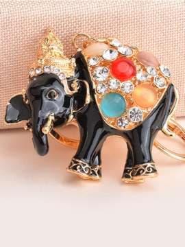 Модный брелок слон черный золото. Изображение товара, вид 1