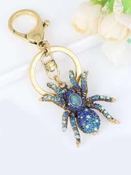 Стильный брелок паук в стразах синий. Изображение товара, вид 1