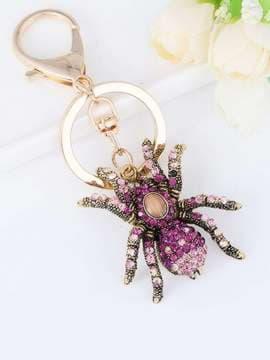 Стильный брелок паук в стразах фиолетовый. Изображение товара, вид 1
